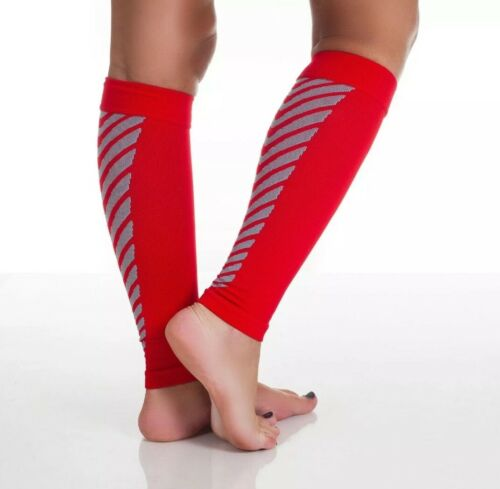 L Nylon Spandex* NEW! One Pair of Running Sleeve Compression Calf Socks Red