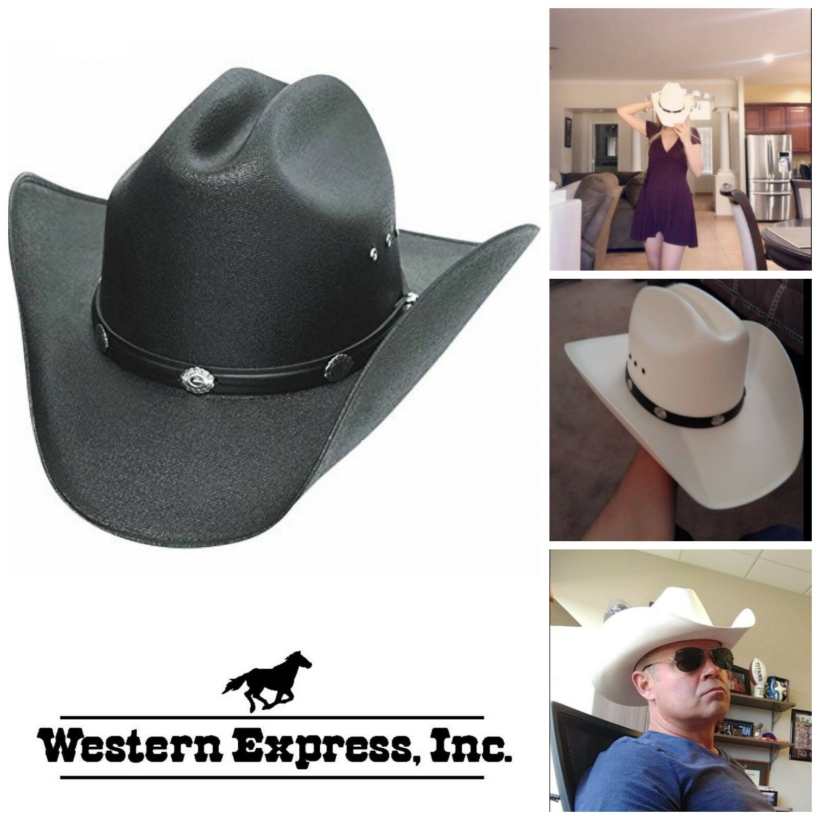 Straw Cowboy Mens Hat Western Hats Classic Cattleman Mens Cowboy Accessories Black White 508100