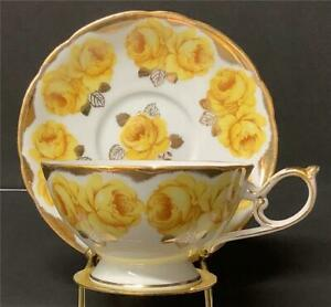 Shafford Footed Tea Cup and Saucer Yellow Cabbage Roses Japan