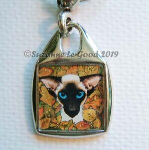 SIAMESE-CAT-art-Keyring-handbag-charm-original-painting-glittery-Suzanne-Le-Good