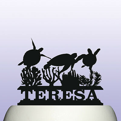 Superb Personalised Acrylic Sea Turtle Birthday Cake Topper Decoration Ebay Personalised Birthday Cards Veneteletsinfo