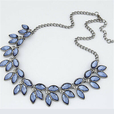 Women Crystal Gemstone Leaves Choker Chain Bib Necklace Statement Silver Pendant