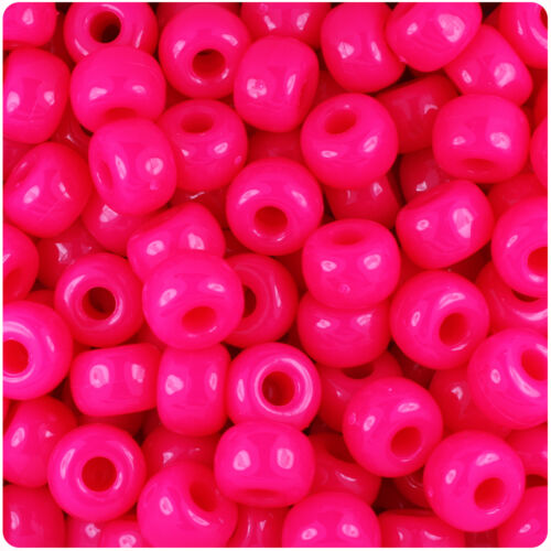 250 Magenta Pink Neon Bright 11x8mm Barrel Pony Beads Made in the USA