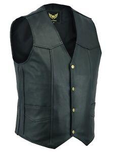 Mens-Classic-Motorcycle-Biker-Black-Leather-Fashion-Waistcoat-Vest-Top-Grain