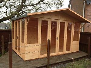 Image is loading 14x8-OXFORD-SUMMER-HOUSE-WITH-BI-FOLD-DOORS- & 14x8 OXFORD SUMMER HOUSE WITH BI FOLD DOORS + SIDE DOORS QUALITY ...