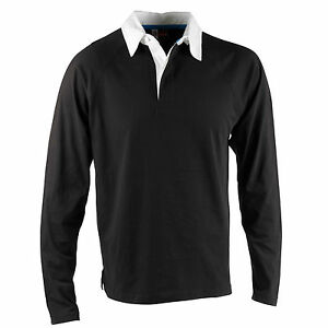 Mens-US-Basic-Black-Rugby-Shirt-Polo-White-Collar-Top-Long-Sleeve-100-Cotton