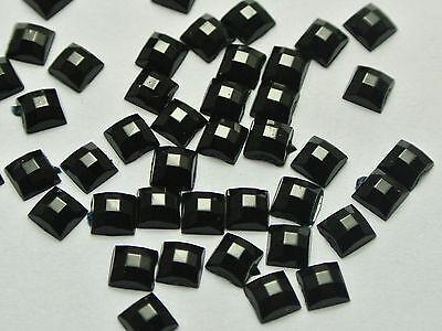 1000 Jet Black Acrylic Flatback Faceted Square Rhinestone Gems 4X4mm