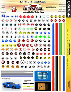 MG-6100-1 1//64 High Def UltraCal Racing Decals Number Roundel Decals Style 1