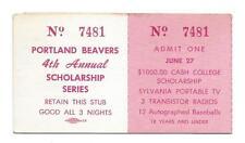 1967 Portland Beavers 4th Annual Scholarship Series Minor League Ticket Stub!