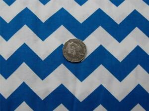 Quilting-Patchwork-Sewing-Fabric-Chevron-Zigzag-Blue-White-Material-50x55cmFQ