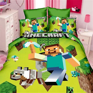 Image Is Loading Minecraft Game King Single Size Bed Quilt Doona