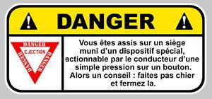 DANGER-SIEGE-EJECTABLE-JDM-HUMOUR-FUN-AUTOCOLLANT-STICKER-12cmX5-5cm-DA157