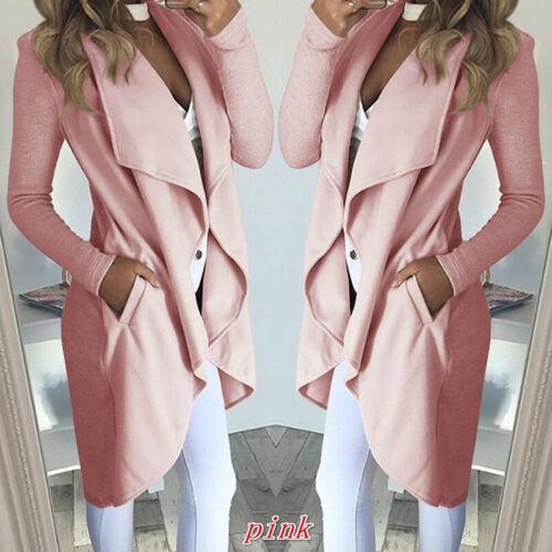 Womens Waterfall Cardigan Ladies Slim Fit Long Sleeve Blazer Coat Jacket CRH