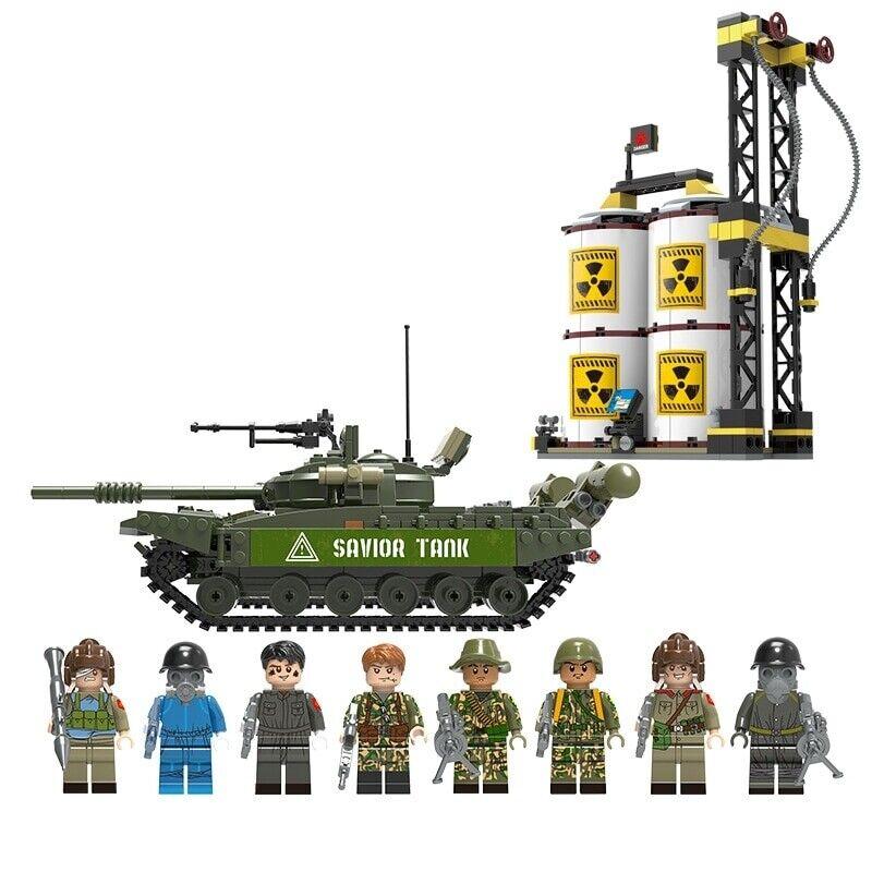 1028pcs militära serie Ryssland T -72 Huvudstridstank armésoldat Action Figures