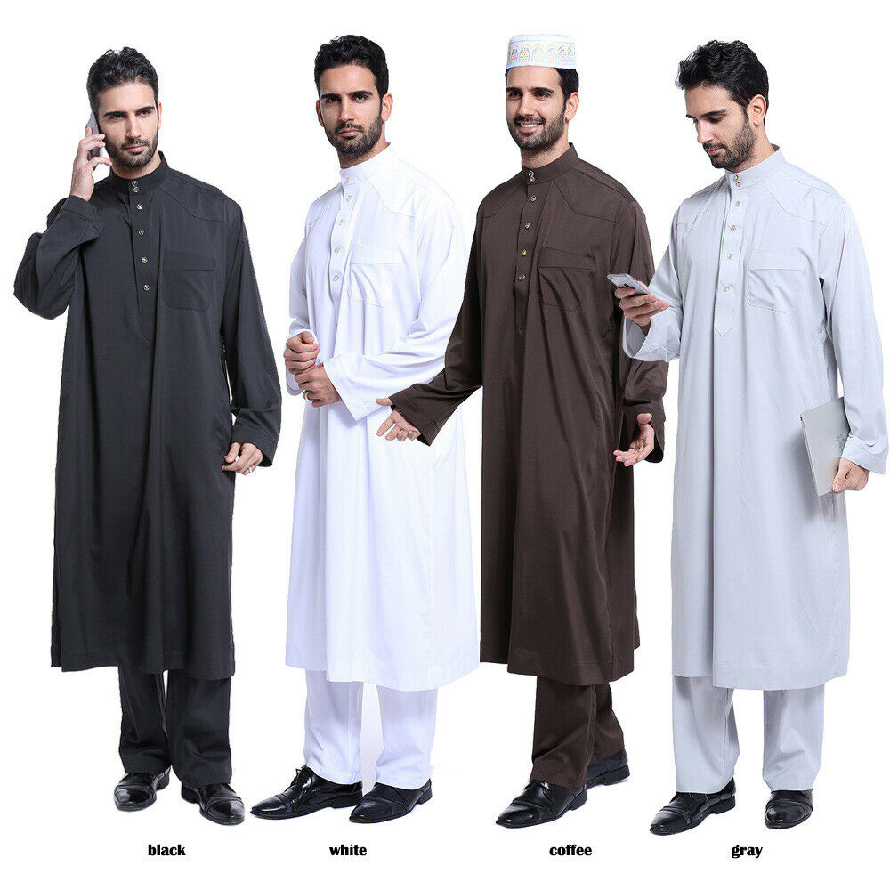 Men Thobe Thoub Long Jubba Islamic Muslim Dress Daffah Kaftan Robe Jubah Robes