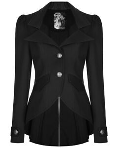 Punk-Rave-Womens-Steampunk-Jacket-Tailcoat-Black-Gothic-Victorian-Faux-Leather