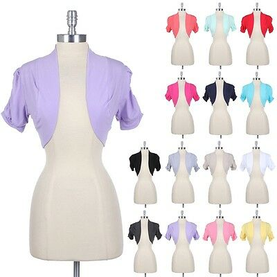 [JUNIOR PLUS SIZE] Solid Ruched Short Sleeve Cotton SHRUG Bolero Cardigan1XL-3XL