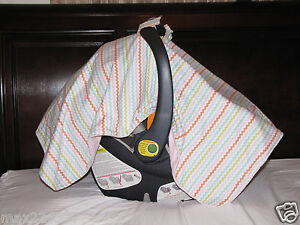 NEW baby INFANT  car seat cover BLANKET CHEVRON canopy shade cotton girl