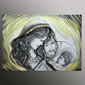 QUADRI MODERNI religiosi DIPINTI A MANO oro Madonna con bimbo ...