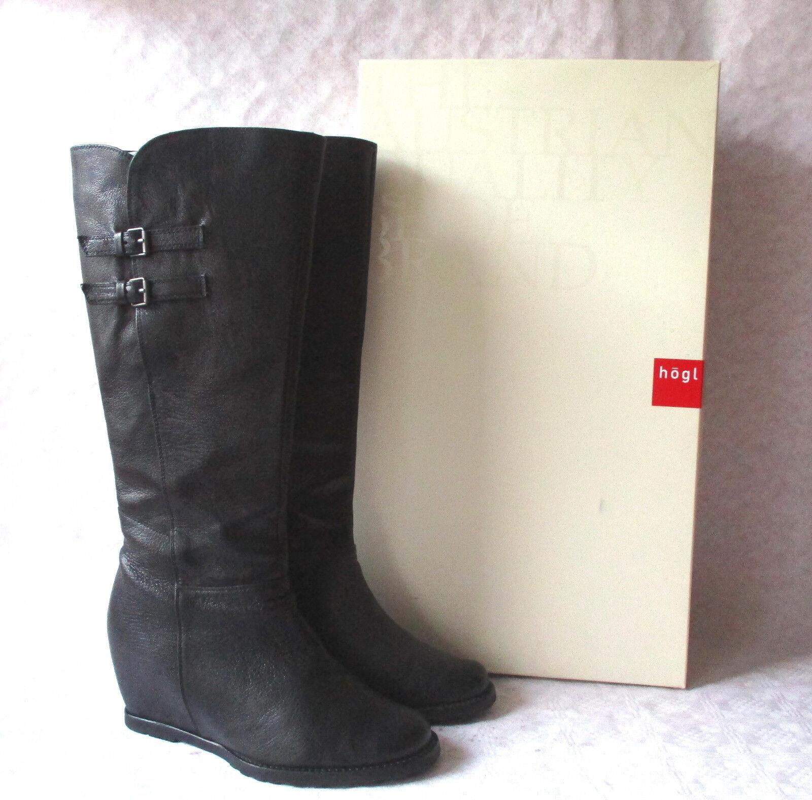 HÖGL schwarze Leder Stiefel Weges Velourfutter Gr.41 wenige Male getragen