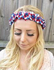 Red Blue White Great Britain Flag Rose Flower Garland Headband British Boho 1867