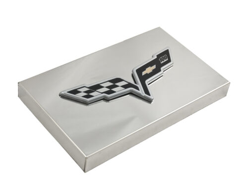 2005-2013 C6 Corvette Polished Fuse Box Cover with 100th Anniversary Emblem
