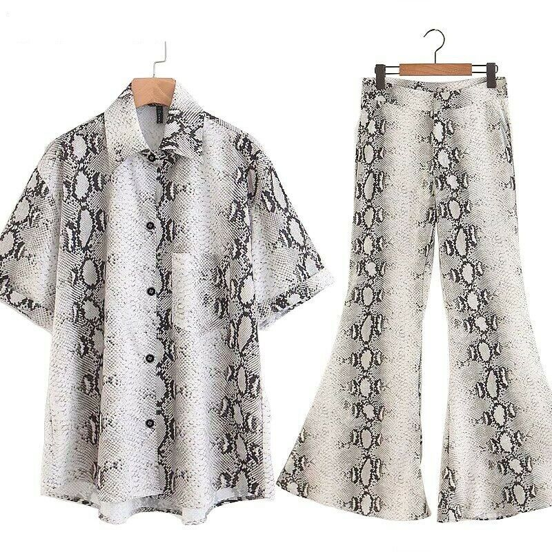 Women Short Sleeve Blouse Shirts Long Flares Pant Snake Print Casual Tops Pants