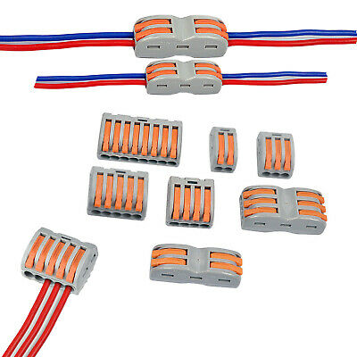Way Reusable Spring Lever Terminal Block Electric Cable Wire Connector 2//3//4//5//8