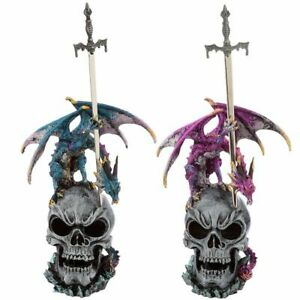 30cm-Dark-Legends-Swords-Master-Dragon-Skull-Figurine-Ornament-Blue-or-Purple