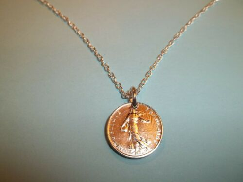 THE SOWER SILVER NECKLACE FRENCH HALF FRANC COIN 1969-51st BIRTHDAY