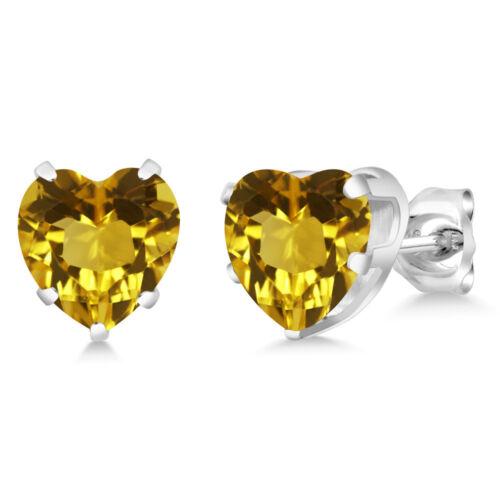 3.20 Ct Heart Shape 8mm Yellow Citrine 925 Sterling Silver Stud Earrings