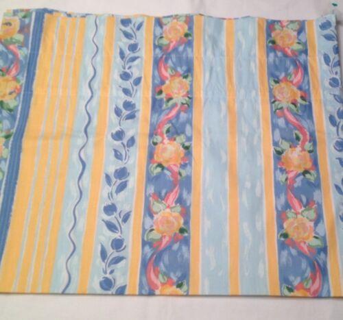 Croscill Fiesta VALANCE yellow blue pink flowers ribbons white vertical stripe
