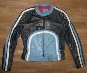 Damen-Motorrad-Kombi-Lederjacke-Biker-Jacke-in-schwarz-blau-ca-Gr-40-42