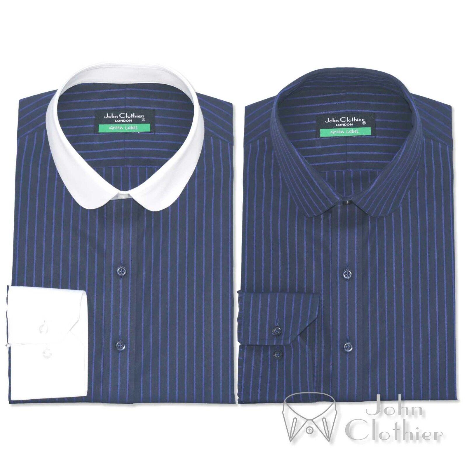 Penny Kragen Baumwolle Herren Shirt marineblau Streifen Bankier weiß Club rund