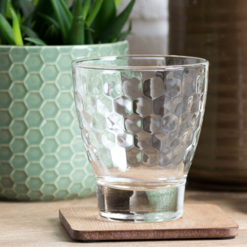 Set of 4 Tumblers Luxe Bee Honeycomb Short Water Drinking Glasses Whisky Brandy