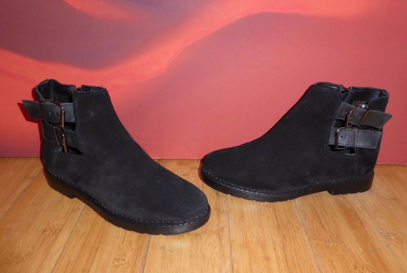 2 TOPSHOP BLACK LEATHER SUEDE  ANKLE  BOOTS EU 38 UK 5 INDIE GRUNGE