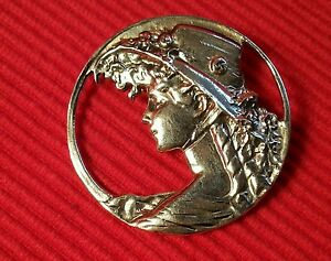Solid-silver-vintage-style-ladies-head-hat-brooch-stamped-925