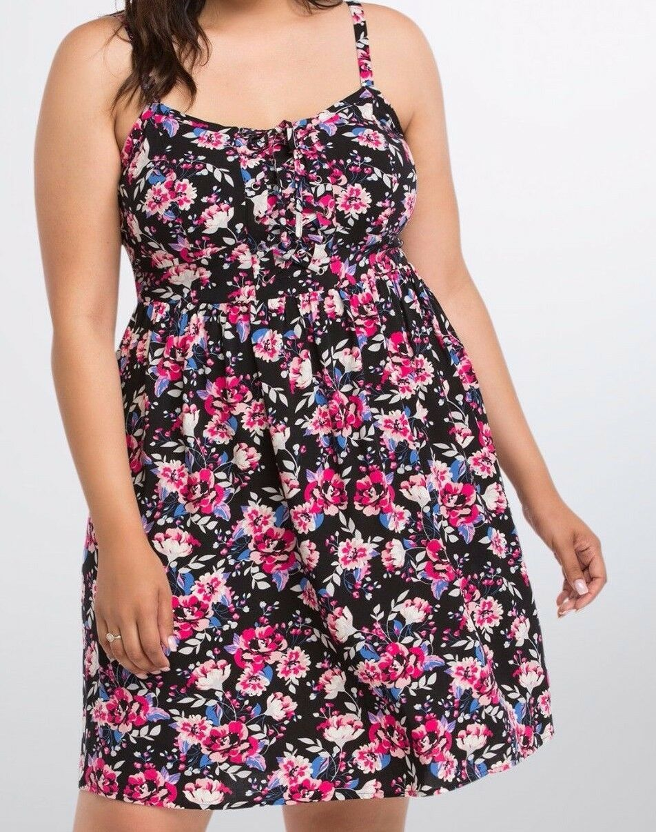 Torrid Floral Lace Up Sundress Dress schwarz Größe 00 Aka Med Large or 10