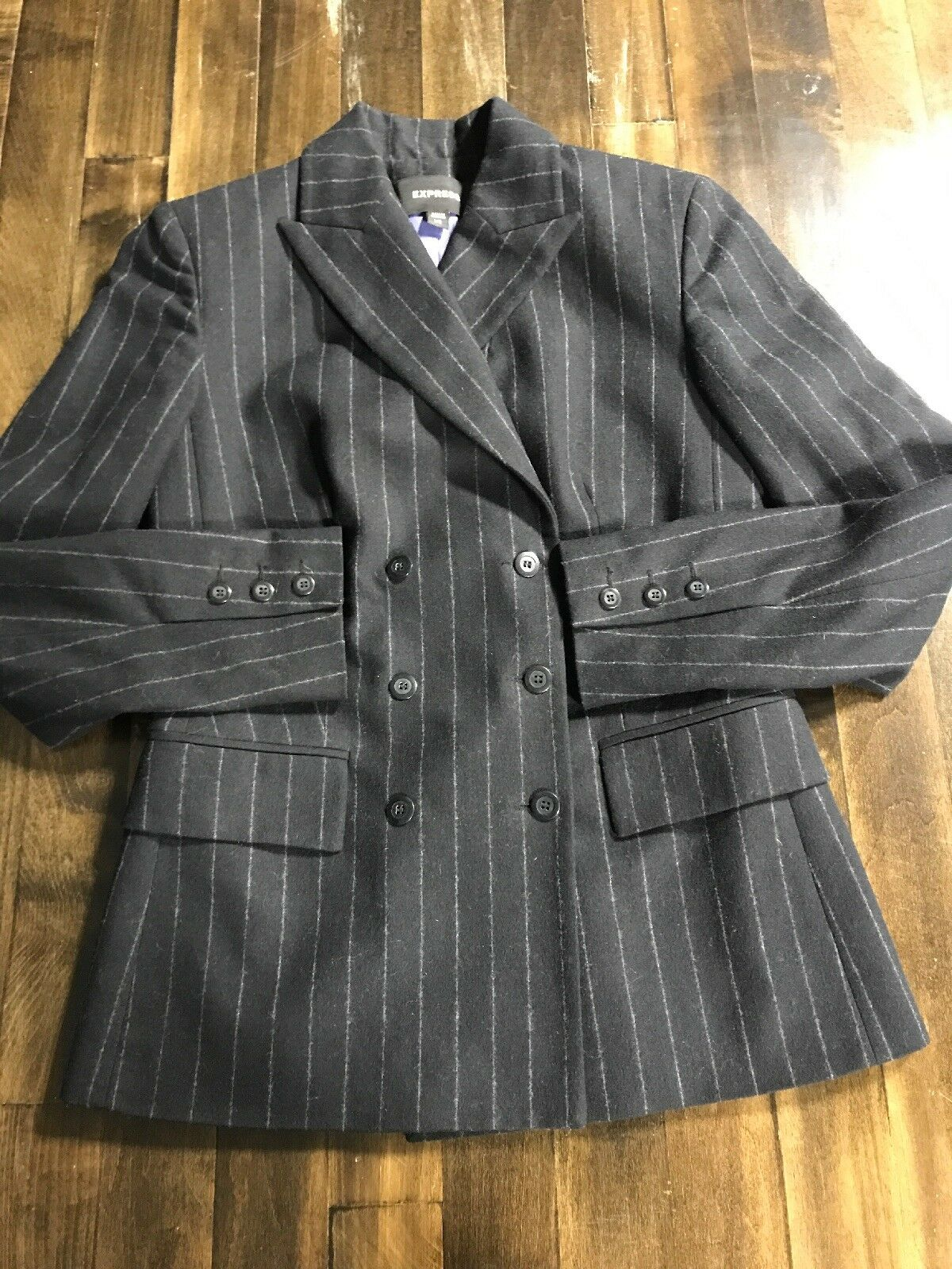 Express Women's Recycled Wool Blend Doublebreast Blazer Navy W Pintripe Size 1 2