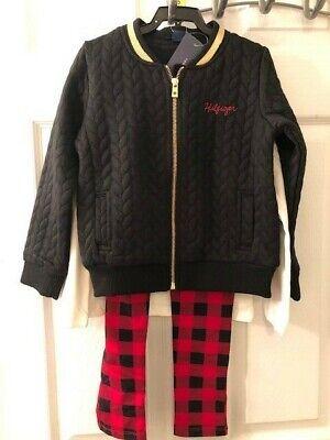 shirt /& Leggings size 4T New Tommy Hilfiger Girls 3 pc Black Bomber Jacket