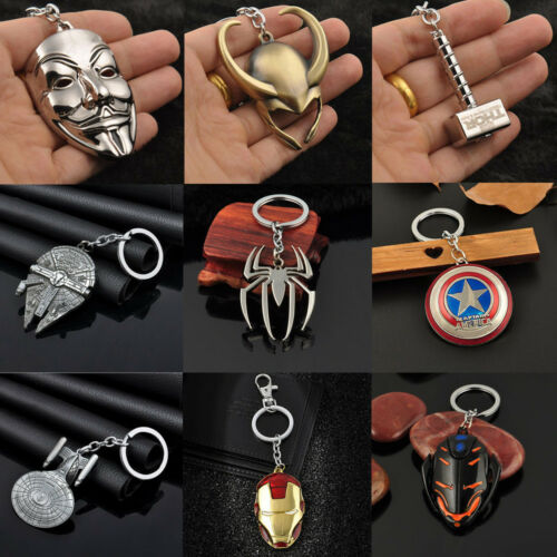 Retro Anime Figure The Avengers Marvel Character Keychain Keyring Car Keyfob 1PC