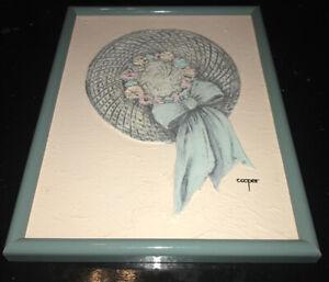 Lydia Cooper Oil Art Painting Orginal Floral Womans Hat Bow Soft Blue/Pink 12x16