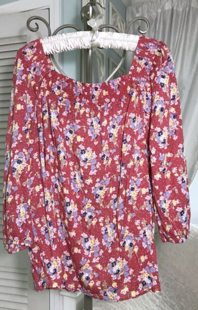 NEW~ Plus Size 2X Pink Floral Boho Peasant Chaps Top Shirt Blouse $65