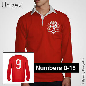 6e9e06129a70 Wales Dragon Crest Rugby Jersey Welsh Retro Shirt Numbers Vintage ...