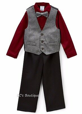 Sz 2T Gymboree herringbone Black Gray Vest Pants Outfit NWT suit outfit