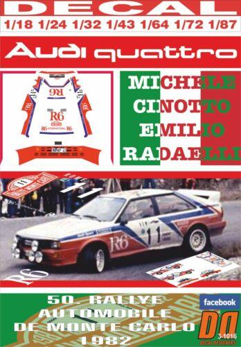 MONTECARLO 1982 DnF 05 DECAL AUDI QUATTRO A1 M.CINOTTO R