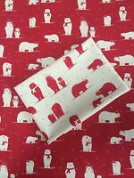 Christmas Cream with Red Polar Bears FQ Scandinavia Fabric Material 100% Cotton
