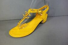 CHANEL 38 Yellow Quilted Leather Gold Woven Chain CC Thong Sandals Low HEELS