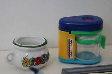 7 tlg.Mini Konvolut-Bild,Kaffeemaschine,Kehrset,Hund -Puppenstube-Puppenhaus,alt