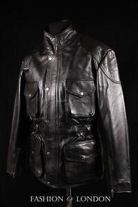 homme-039-Hunter-Moto-039-noir-peau-de-vache-cuir-Safari-MOTARD-MOTO-VESTE-8343